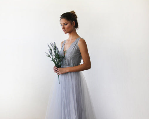 Grey V-Neck Maxi Dress