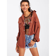 Brown Casual Frayed Asymmetric Jacket - Fashiontage