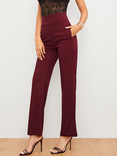 Burgundy Solid Scallop Trim Pants