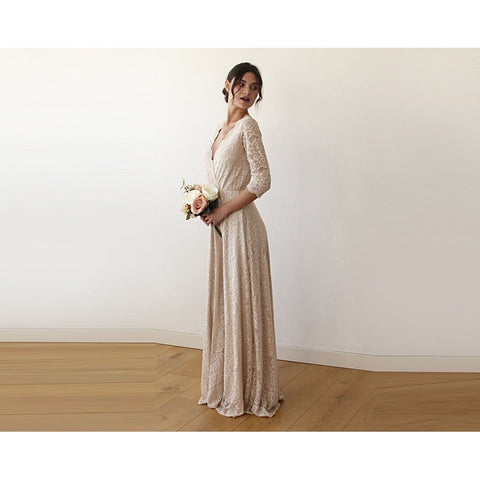 V-Neck Sleeves Maxi Dress