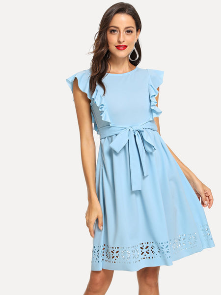 Blue Flounce Trim Laser Cut Out Hem Dress