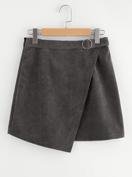 Grey Sheath Wrap Mini Skirt