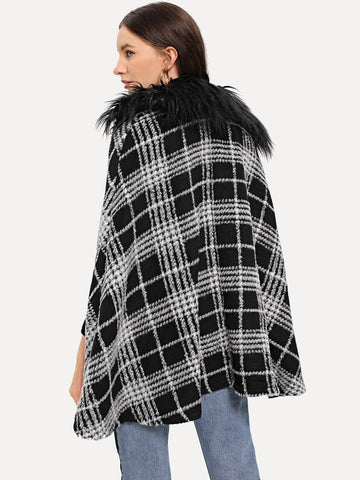 Ups - Women's Trendy Black And White Faux Fur Embellished Plaid Cape Coat