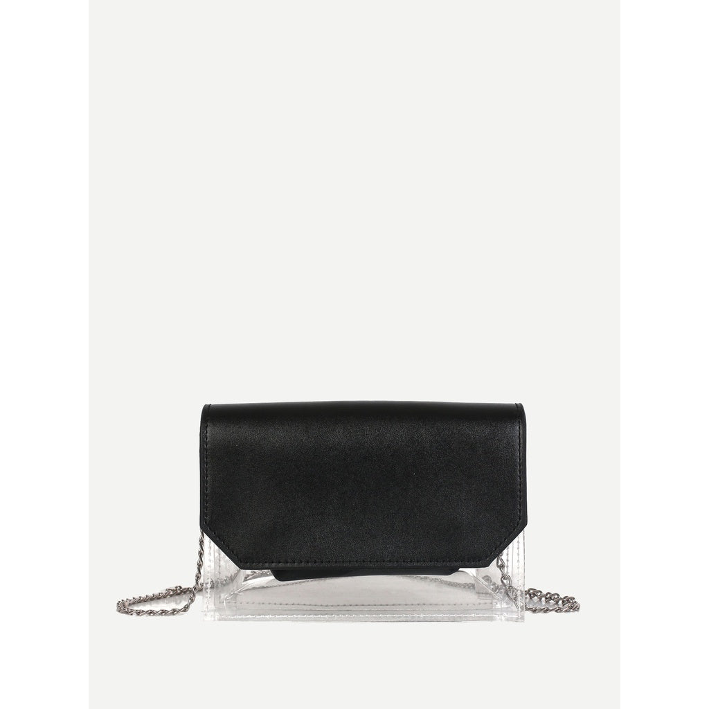 Black Clear Panel Chain Bag With Inner Pouch