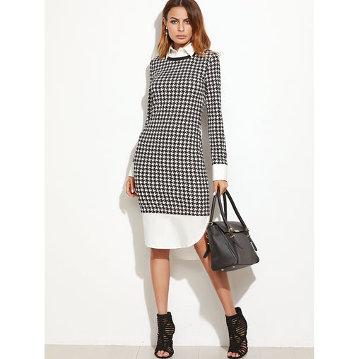Black And White Houndstooth Contrast Curved Hem Combo Dress