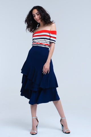Pleated Skirts - Women's Trendy Blue Mini Asymmetric Skirt