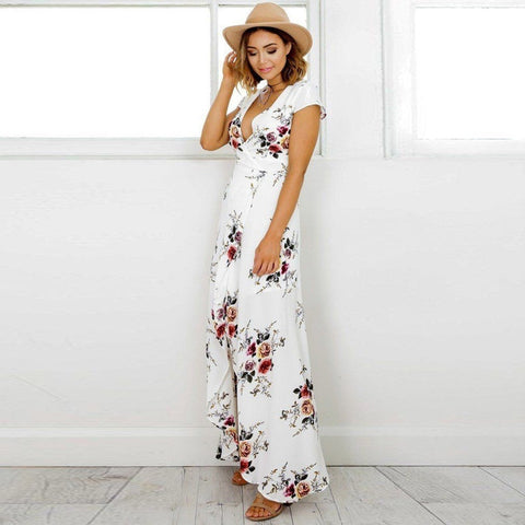 White Floral Print Beach Dress