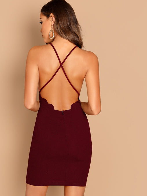 Burgundy Scallop Trim Crisscross Back Short Dress