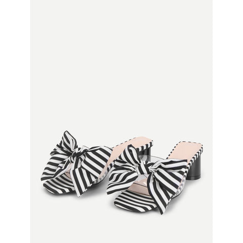 Black And White Bow Tie Striped Heeled Mules