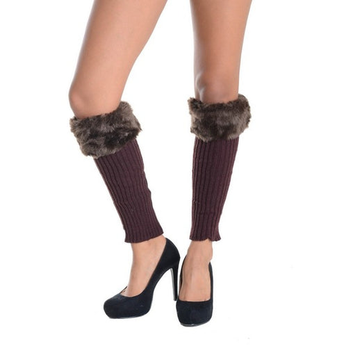 Faux Fur And Brown Ribbed Knee Length Leg Warmers