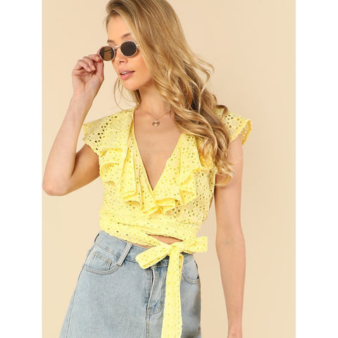 Yellow Ruffle Embellished Eyelet Crop Top