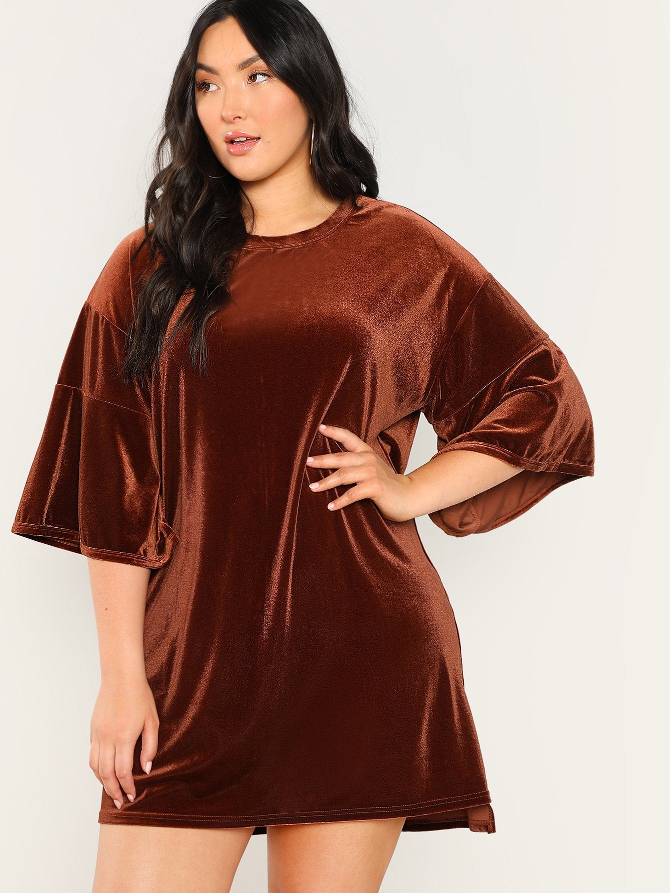 862d857be29 T-Shirts   Jersey Shirts - Women s Plus Size Brown Velvet Short ...