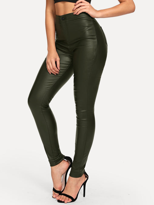 Army Green High Waist Skinny Jeans