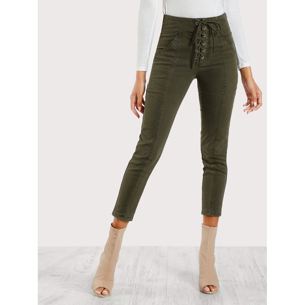 Army Green Mid Waist Plain Tapered Carrot Crop Pant