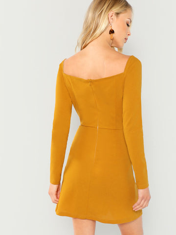 Cocktail & Party Dresses - Women's Trendy Ginger Wrap Sweetheart Solid Dress