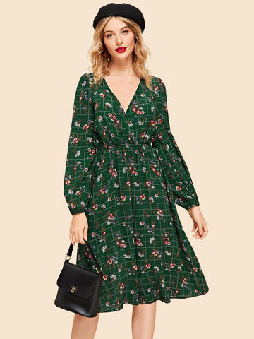 Casual Dresses - Women's Trendy Green Ruffle Detail Polka Dot Wrap Dress