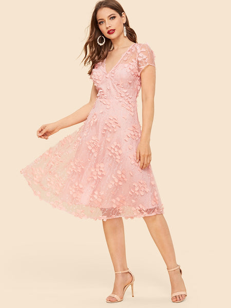 Pink Floral Mesh Overlay Midi Dress