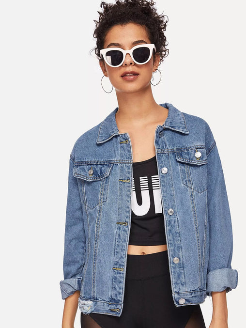 Blue Ripped Faded Wash Denim Jacket