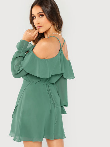 Day Dresses - Women's Trendy Green Off The Shoulder Long Sleeve Ruffle Mini Dress