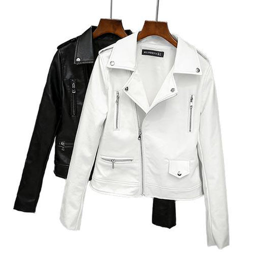 Black & White Short Collar Print Biker Jacket