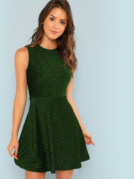 Green Fit and Flare Glitter Short Dress