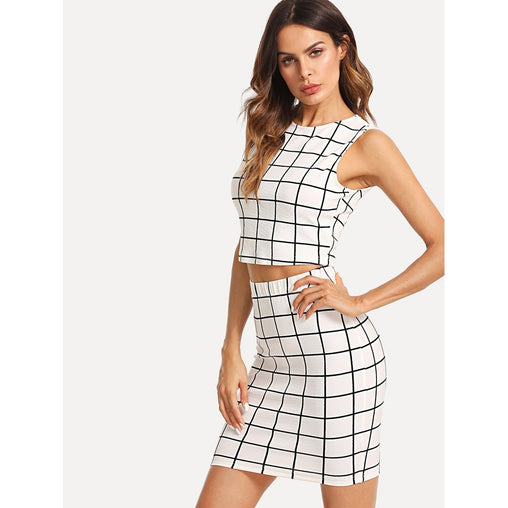 Black And White Grid Crop Top and Skirt Set