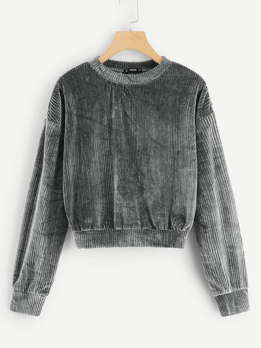 Grey Drop Shoulder Ribbed Velvet Sweatshirt