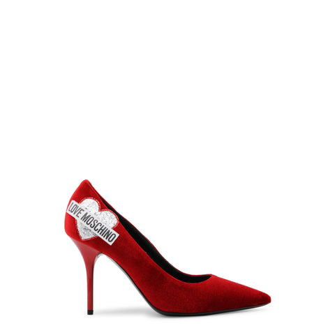 Sandals - Women's Trendy Love Moschino Red Leather Pointed Toe Pumps