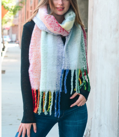 Super Soft Rainbow Large Tassel Scarf