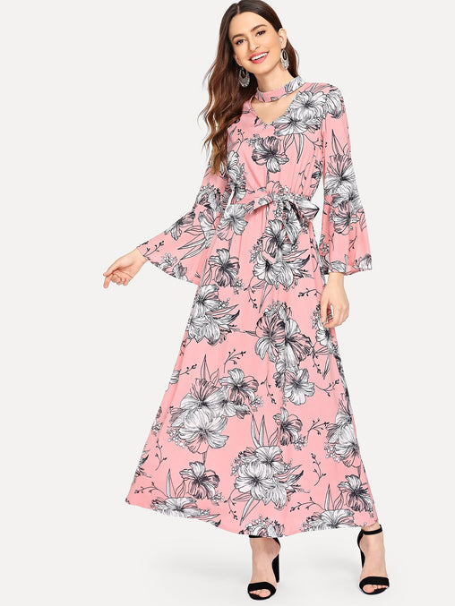 Multicolor Cut Out Neck Floral Print Belted Dress