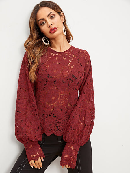Burgundy Bishop Sleeve Lace Blouse