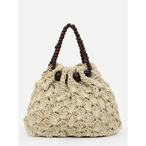 Tote Bags - Women's Trendy Beige Wood Beads Woven Large Tote Bag