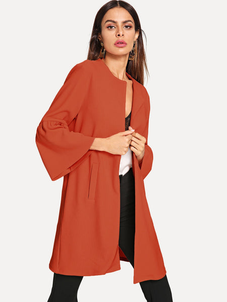 Red Bell Sleeve Open Placket Coat
