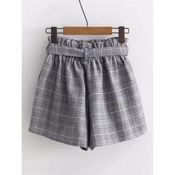 Grey Mid Waist Plaid Shorts - Fashiontage