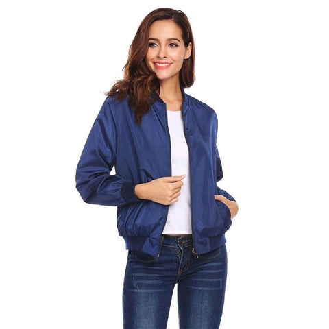 Jackets - Women's Trendy Black Stand Collar Casual Bomber Jacket