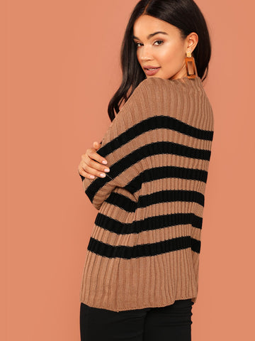 Sweatshirts - Women's Trendy Camel Striped Rib Knit Pullover Sweater