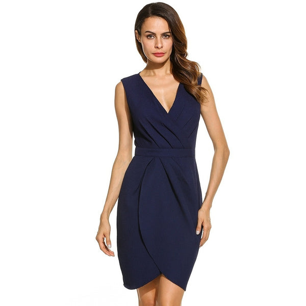 Blue V-Neck Sleeveless Short Dress