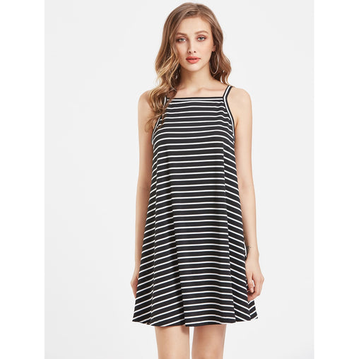 Black And White Striped Swing Cami Dress