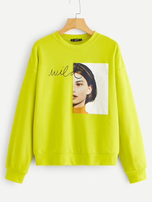 Yellow Round Neck Long Sleeve Sweater