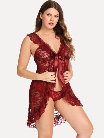 Plus Size Lingerie - Women's Trendy Plus Size Burgundy Floral Print Lace Dress With Thong