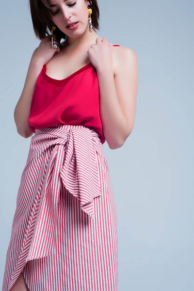 Striped midi skirt with bow in red