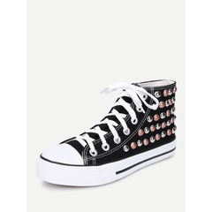 Lace Up Studded Detail Slip On Sneakers - Fashiontage