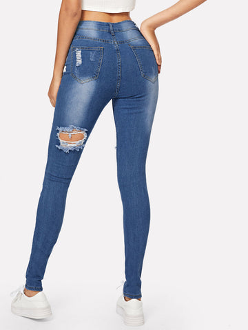 Navy Ripped Bleach Wash Skinny Jeans