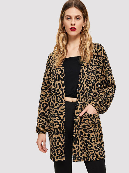 Multicolor Open Front Leopard Print Coat