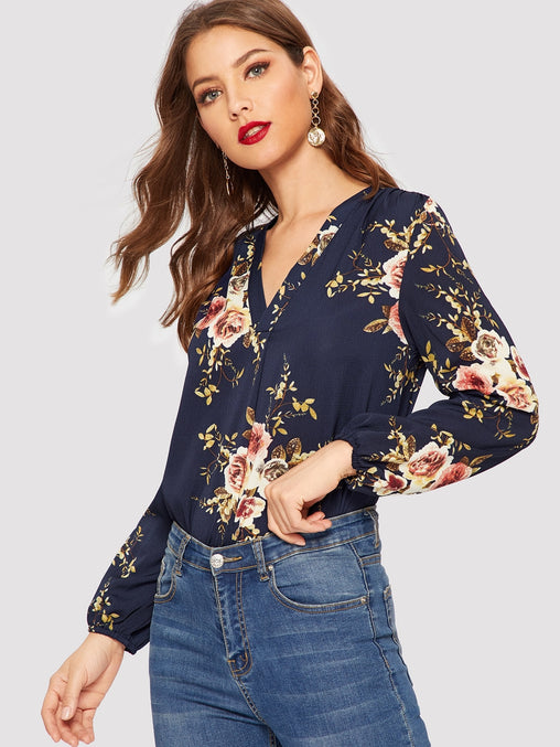 Navy Blue V-Neck Floral Top