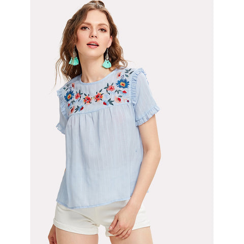 Blue Embroidered Yoke Frilled Pinstriped Top
