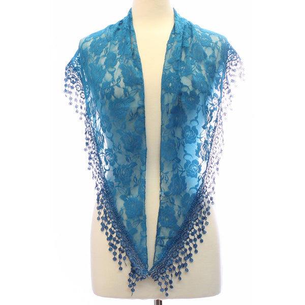 Scarves - Women's Trendy Aqua Triangle Flower Lace Scarf