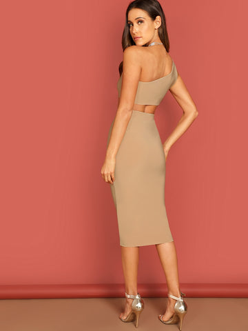 Neutral One Shoulder Knee Length Tube Top and Skirt Set