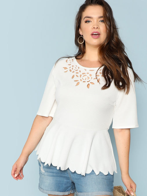 Plus Size White Laser Cut Scalloped Peplum Top