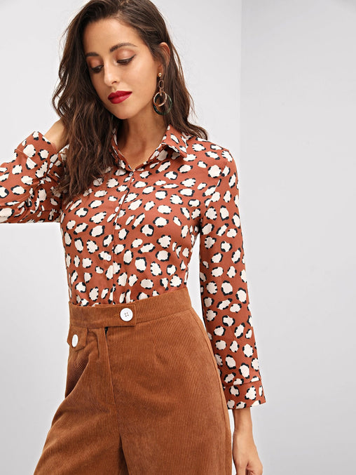 Multicolor Allover Flower Print Buttoned Shirt